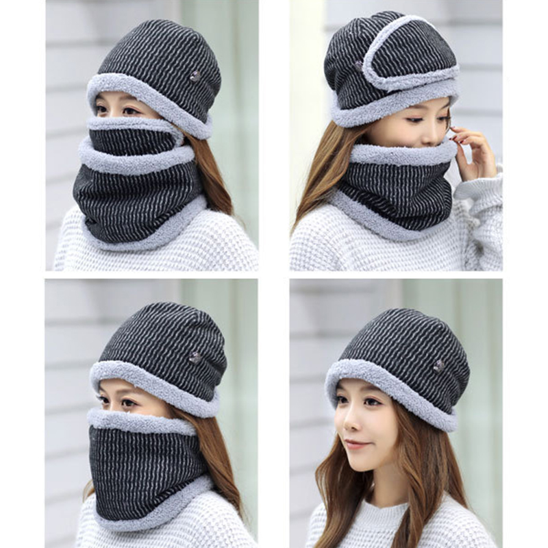 Women Thick Fleece Liner Multipurpose Knitted Hat Scarf