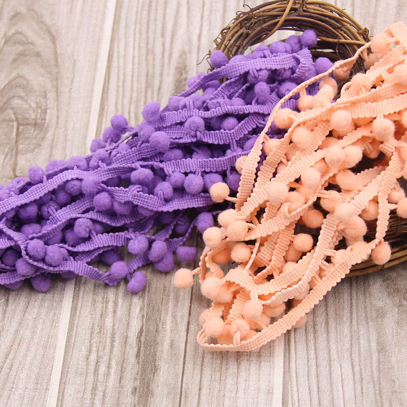 20Yards / Lot 10MM Trim Ball Fringe Ribbon DIY Sewing Accessory Lace Various Colors For Home Party Decoration
