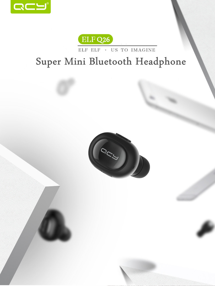Xiaomi QCY Q26 Super Mini In-ear Universal Wireless bluetooth 4.1 Headphone Earphone English Voice
