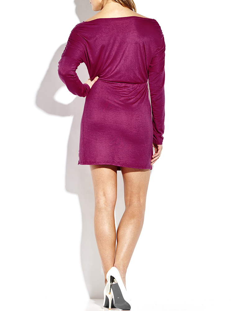 Ruffles Sexy Pure Color Split Long Sleeve Deep V Women Dresses