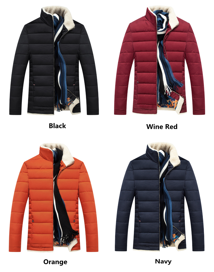 Winter Quilted Thick Warm Stand Collar Zipper Slim Padded Jackets for Men