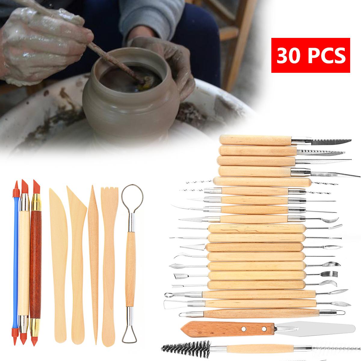 30 Pcs Sculpture Tools Clay Carving Set Modeling Tools Wooden Sculpture Knife