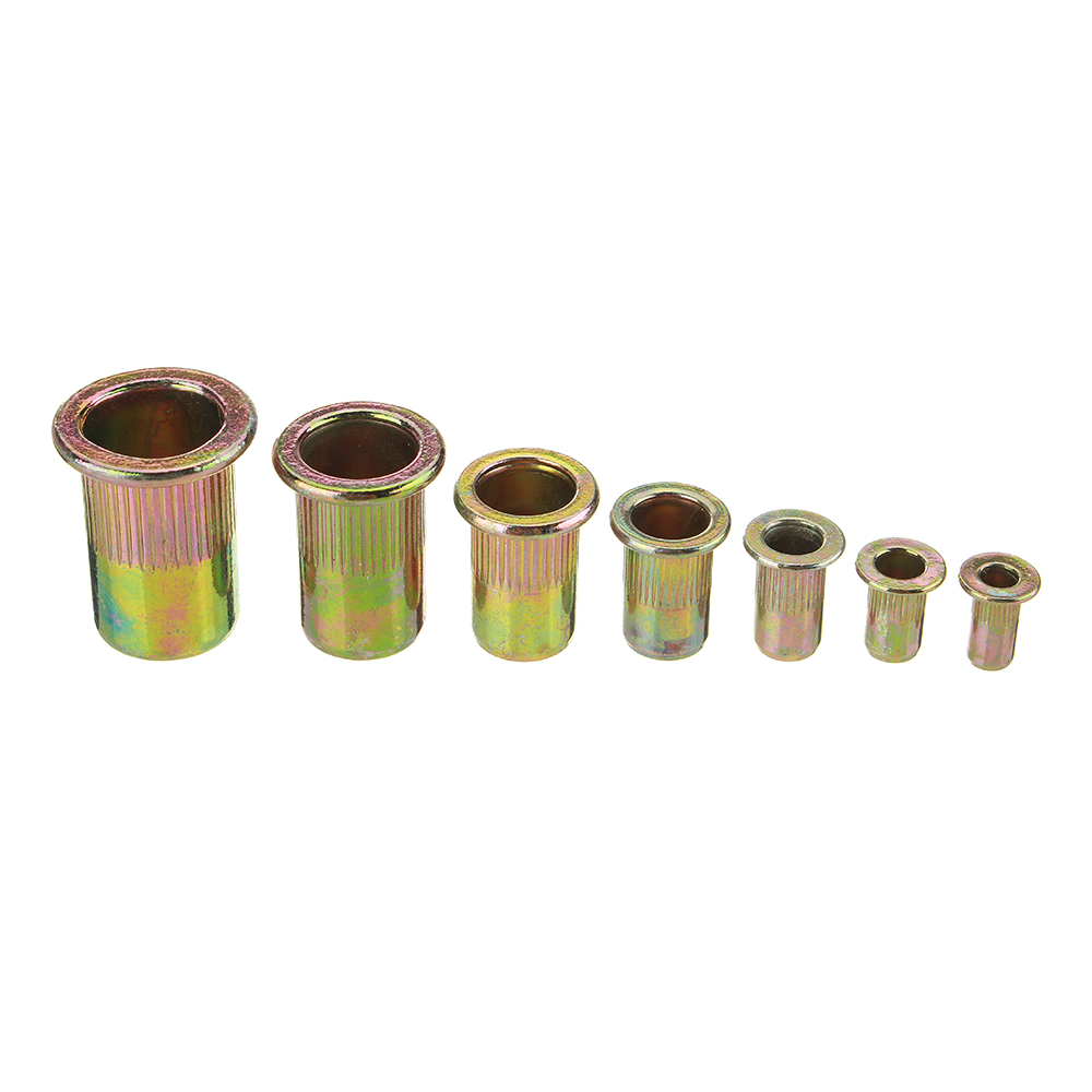Suleve™ MXCN1 165Pcs Mixed Zinc Plated Carbon Steel Rivet Nut Flat Threaded Nutsert M3/4/5/6/8/10/12