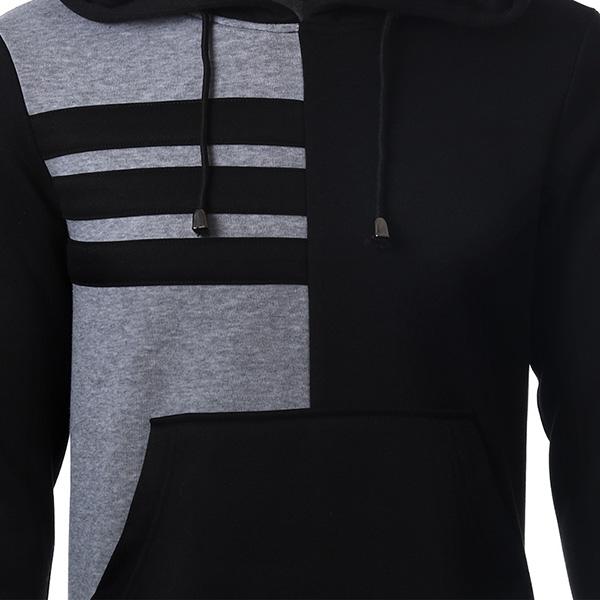 Mens Drawstring Stitching Color Pocket Hoodies Fashion Casual Polyester Sweatshirt