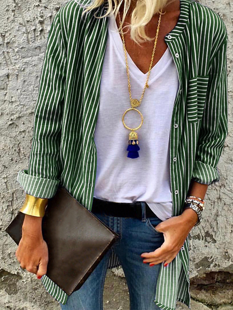 Collar Button Front Pockets Stripe Long Sleeve Blouse