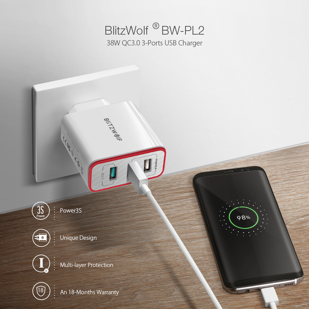 BlitzWolf® BW-PL2 30W QC3.0 3 Ports USB Charger EU Adapter With Power3S Tech For Smartphone Tablet
