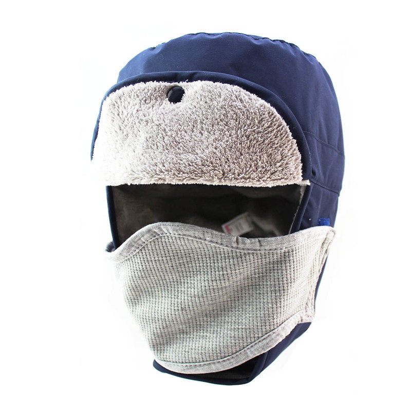 Mens Women Winter Coral Velvet Waterproof Russian Hat Outdoor Hiking Hat With Face Mask