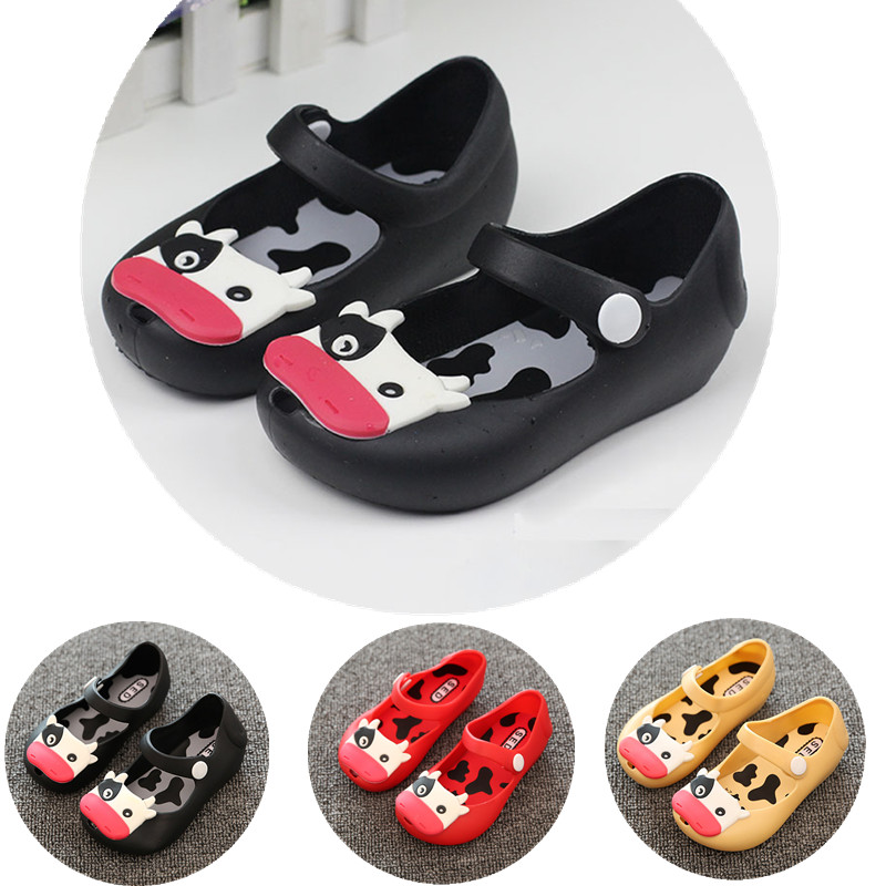 Baby Toddler Kids Children Mini Beach Summer Jelly Fish Mouth Sandals Cow Cattle Rainy Rubber Anti S