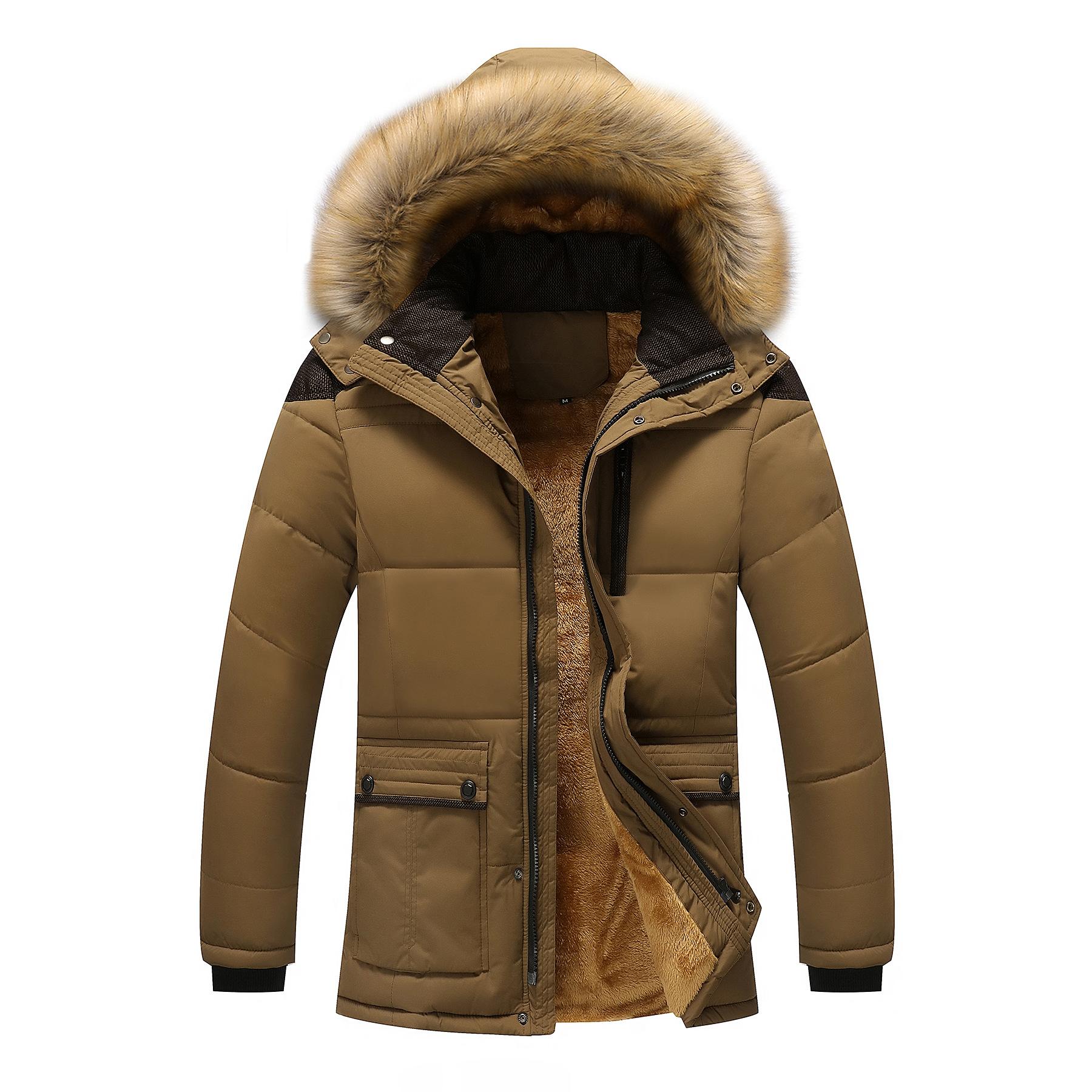 Mens Thick Fleece Warm Hooded Fur Winter Outwear Jacket
