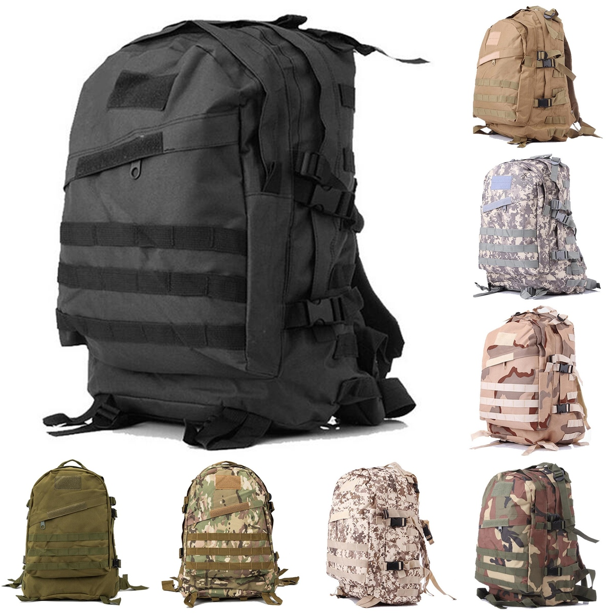 55L Outdoor Tactical Army Backpack Rucksack Waterproof Camping Hiking Shoulder Bag