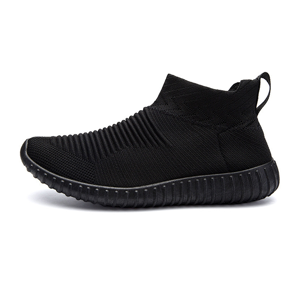 Men Comfortable Knitted Fabric High Top Slip On Sneakers