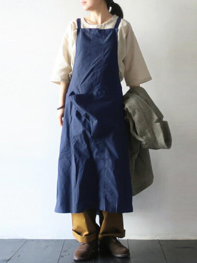 Plus Size Retro Japanese Style Cotton Apron Dress