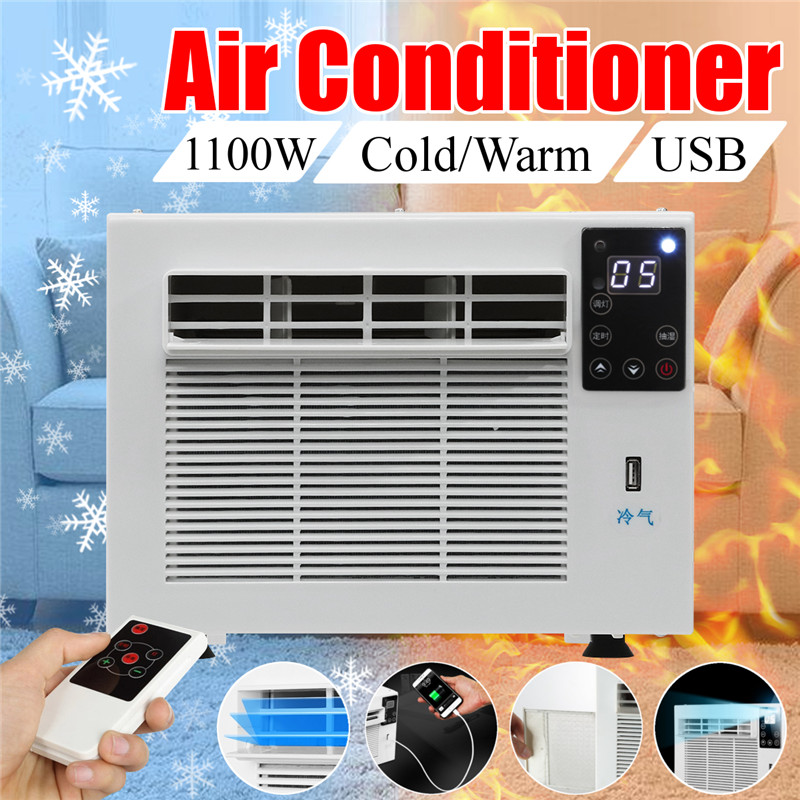 1100W Air Conditioner Cooling Heating Timer Lighting Dehumidification USB Charge
