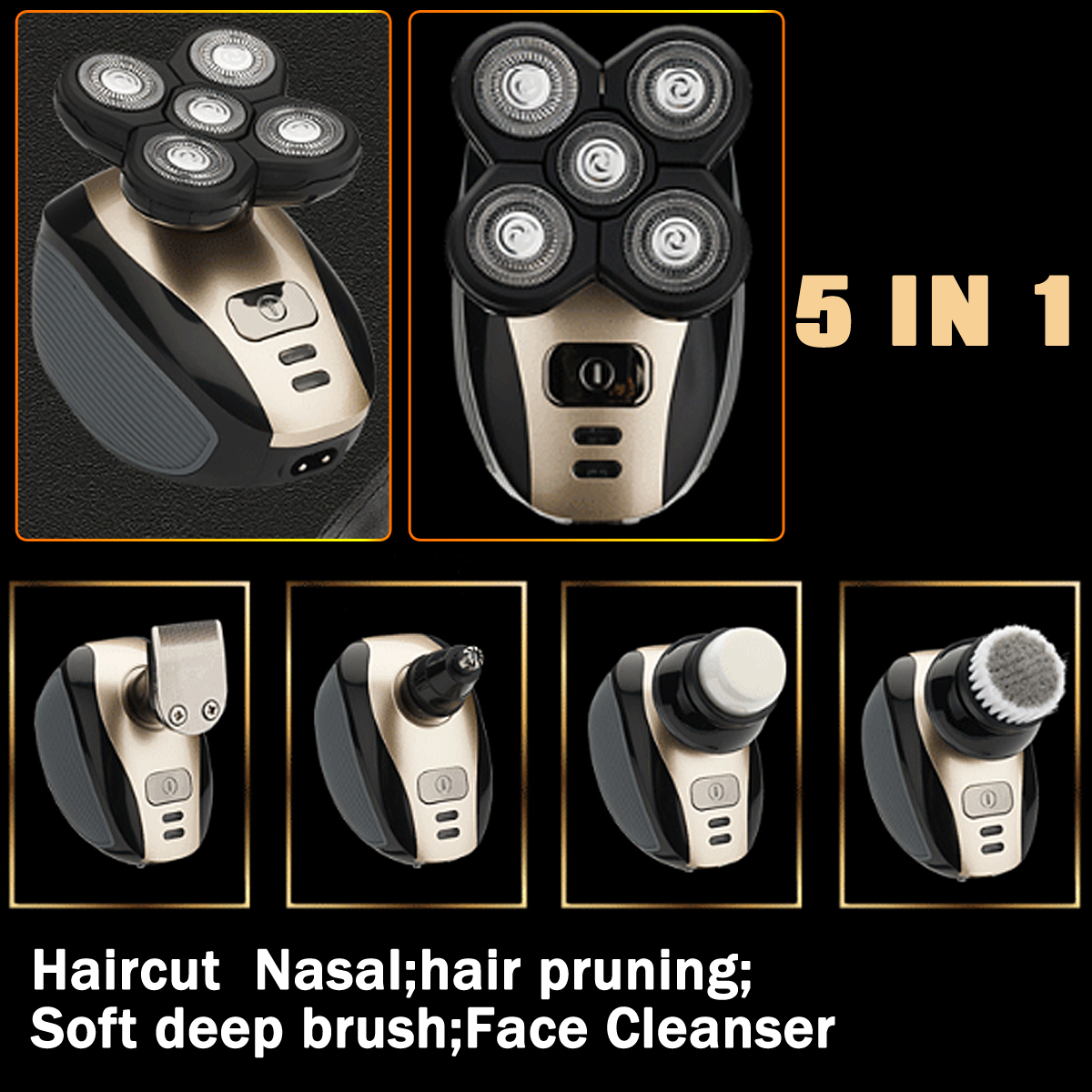 5 In 1 Cordless Hair Clipper Rechargeable Bald Head Shaver