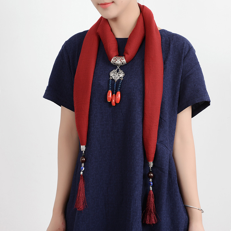 Ethnic Women Necklace Lucky Lock Beads Tassel Pendant Multicolor Cotton Scarf Clothing Accessories