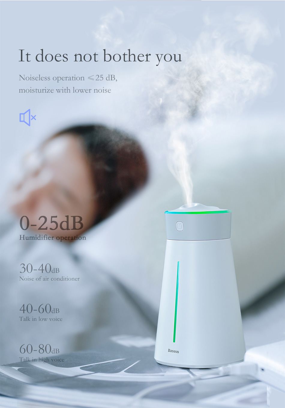 Baseus Humidifier Aroma Essential Oil Diffuser Air Mist Maker with 7 Color Light for Office Home Car