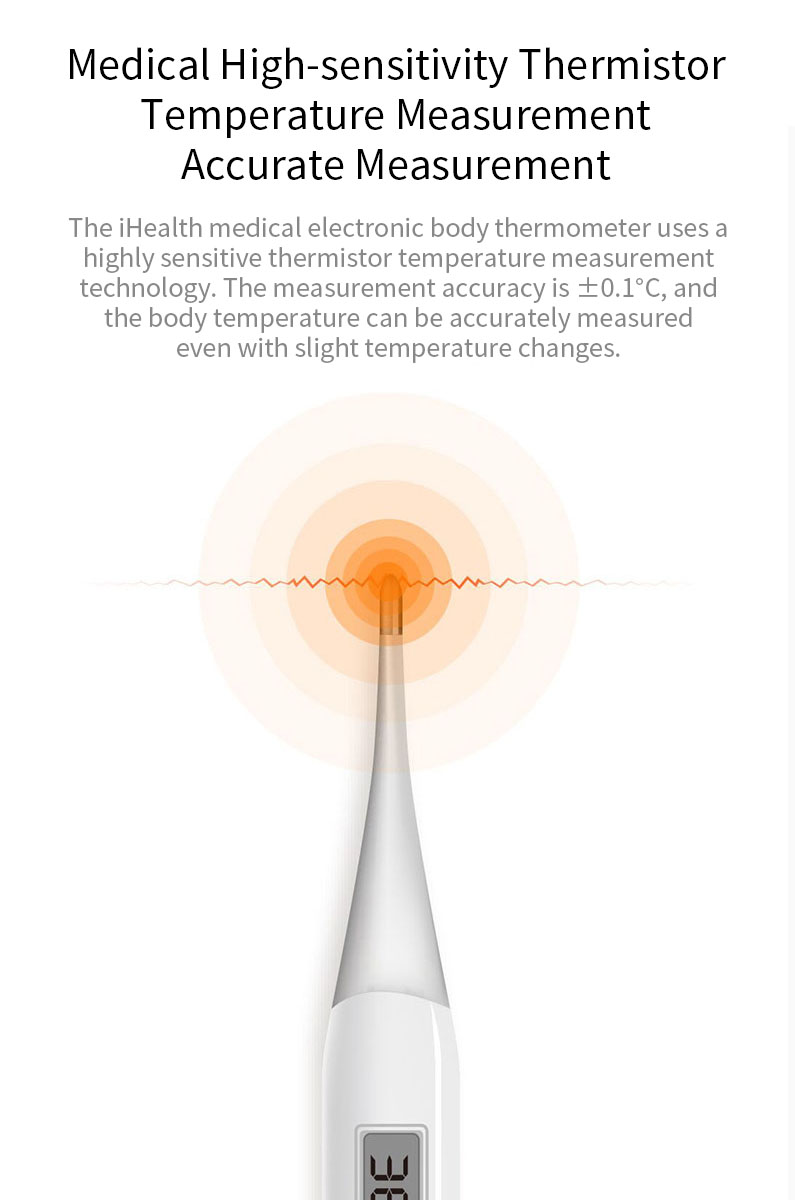 iHealth PT-101B Medical Baby High Sensitivity LED Electric Thermometer Underarm/Oral Soft Head Thermometer Adult BabyTthermometer Sensor From Xiaomi Youpin