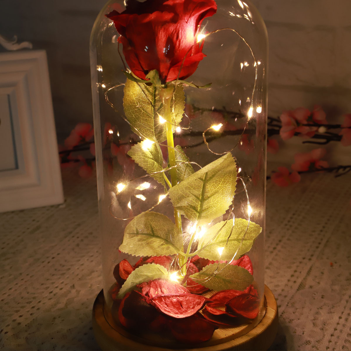 Red Forever Rose Glowing Flower Immortal Fresh Rose in Glass Mother's day Decoration Toys