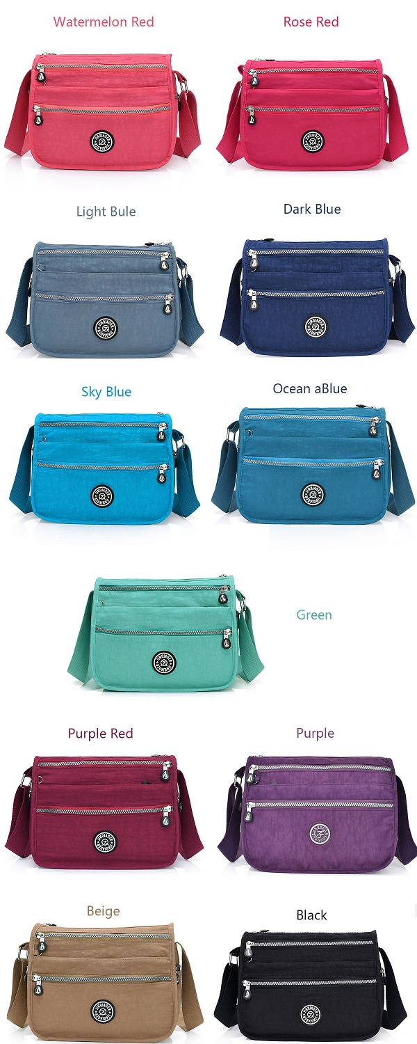 Women Nylon Multi Pocket Large Capacity Casual Shoulder Bag Crossbody Bag