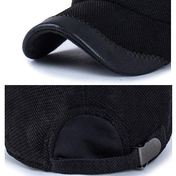 Unisex Cotton Leather Earflap Ear Muffs Baseball Cap Adjustable Golf Outdoor Hat For Men Women