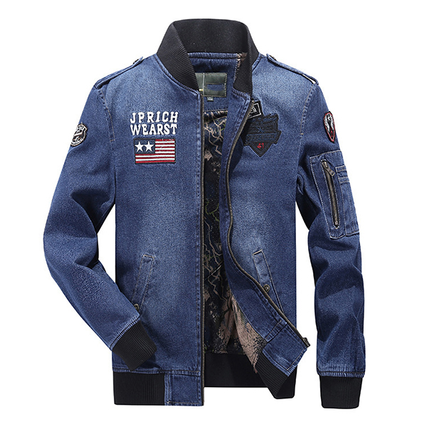 Embroidery Armband Epaulet Pilot Flight Jacket Denim Coat