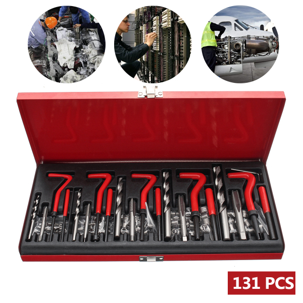 131pcs Metric Thread And Helicoil Repair Kit M5/M6/M8/M10/M12 Car Coil Drill Tool