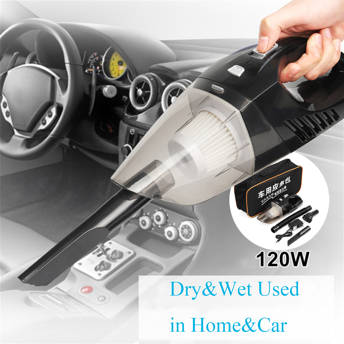 120W LED Compact Cordless Wet&Dry Portable Car Home Vacuum Cleaner Low Noise