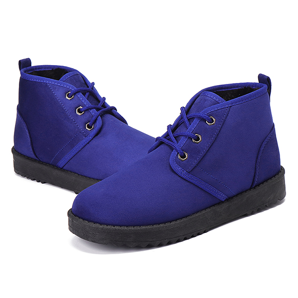 US Size 5-12 Comfy Fur Lining Cotton Lace Up Snow Boots For Women