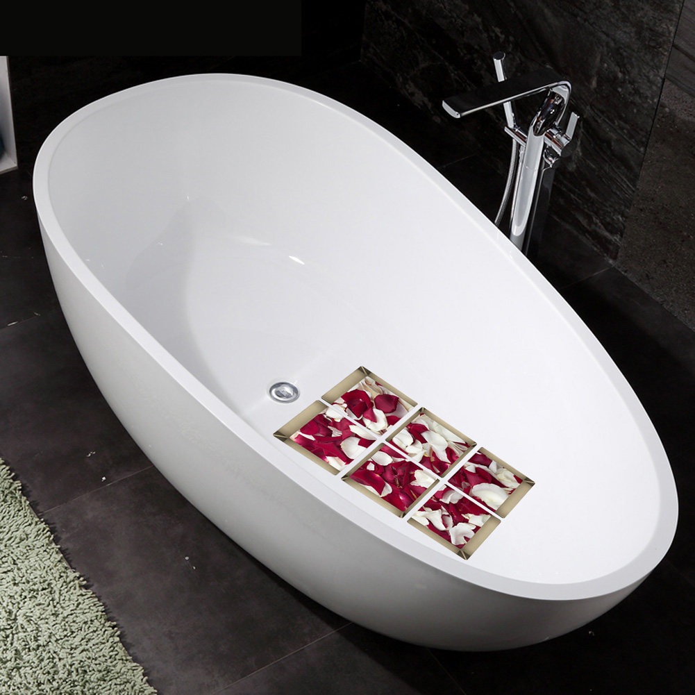 6Pcs 3D Bath Stickers Rose Petals Waterproof Bath Decor Anti-Slip Stickers Tub Decals Appliques