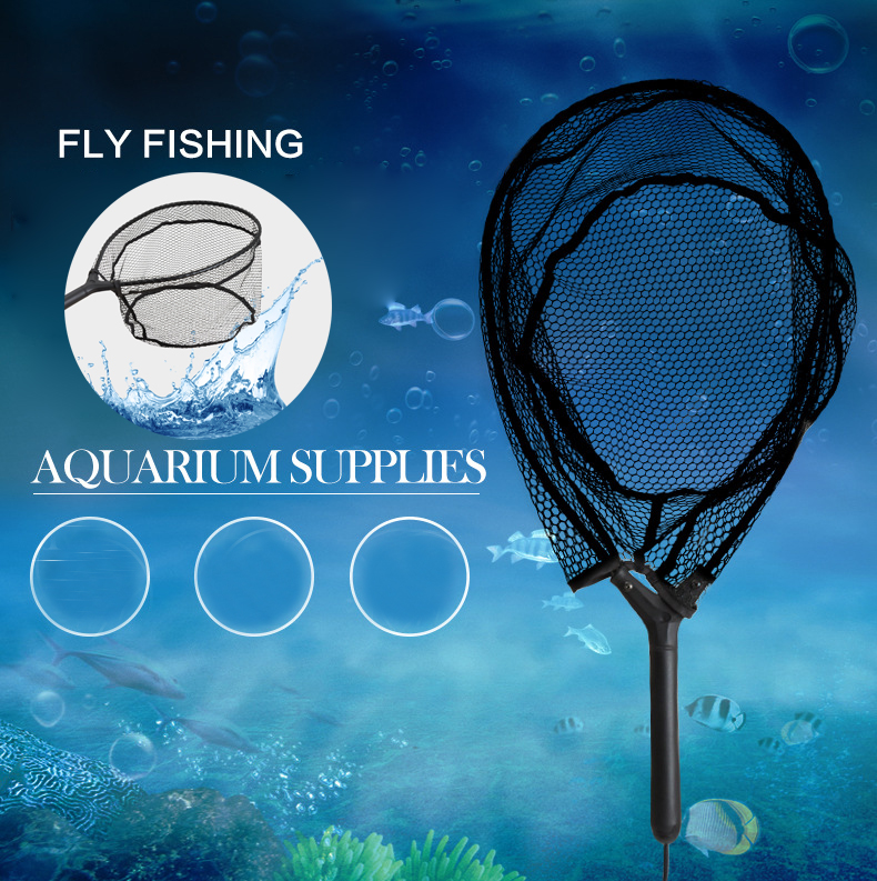 63CM Black ABS Alloy Nylon Fly Fishing Landing Handle Net Fishing Net Tackle Tool
