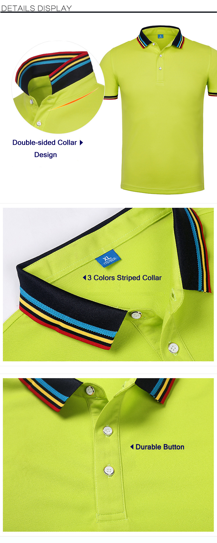 Summer Casual Mens Business Solid Color Lapel Golf Shirts