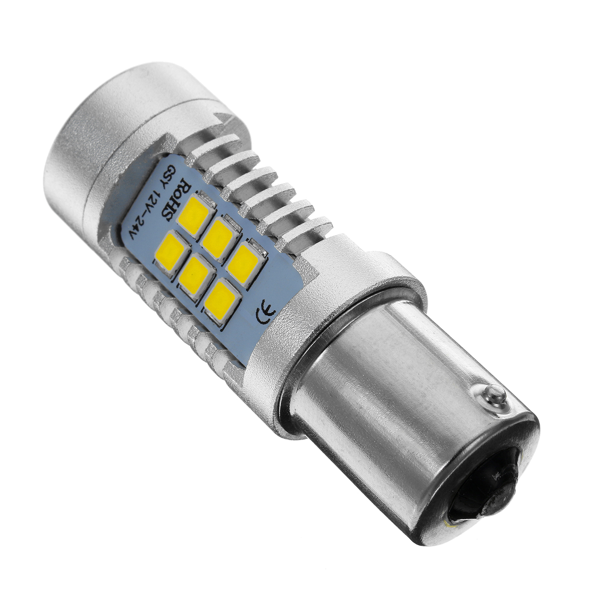Pair 1156 BA15S 21SMD LED Car Brake Lights Tail Bulb Stop Lamp White/Yellow 12W DC 12V
