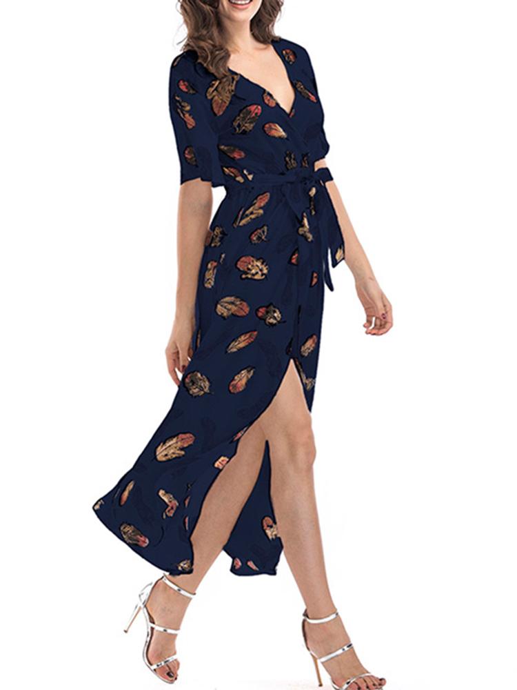 Floral Print V-neck Chiffon Long Split Sexy Dress
