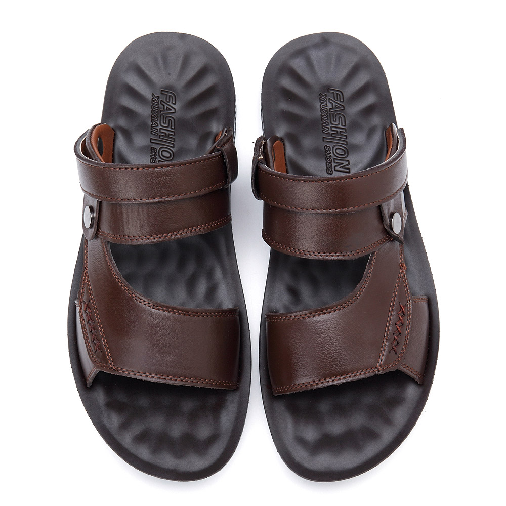 Men Comfy Sole Genuine Leather Sandals Two Way Wear Shoes