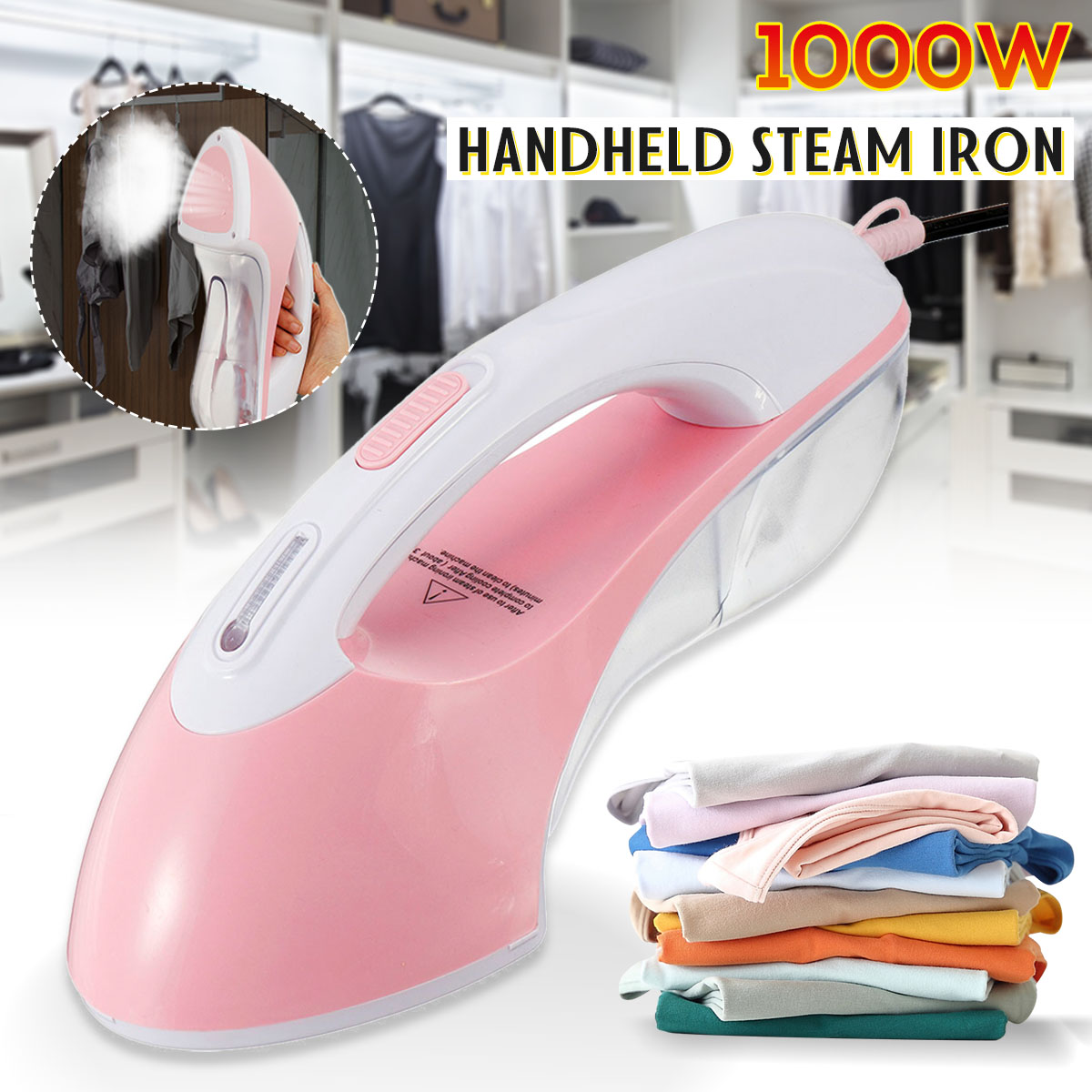 110V 1000W Handheld Electric Steam Iron Fabric Clothes Garment Steamer Dry Flat