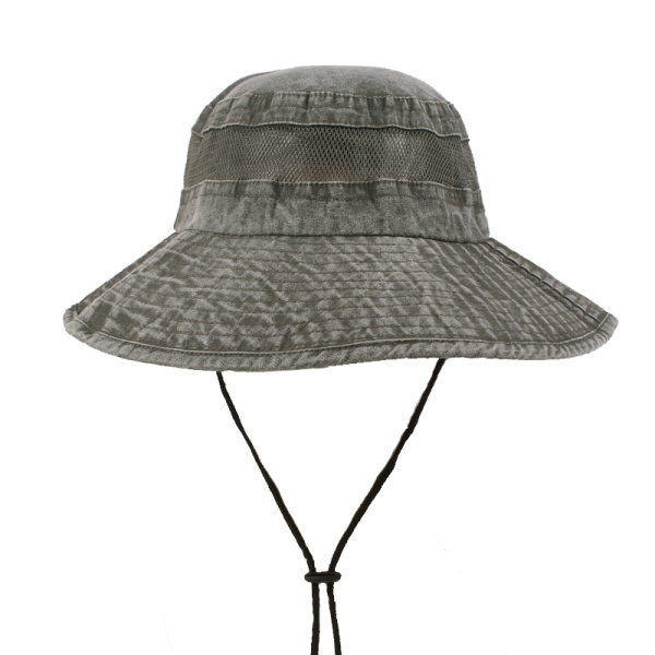 Unisex Mens Summer Cotton Washed Bucket Hats Mesh Breathable Outdoor Sunshade Cap
