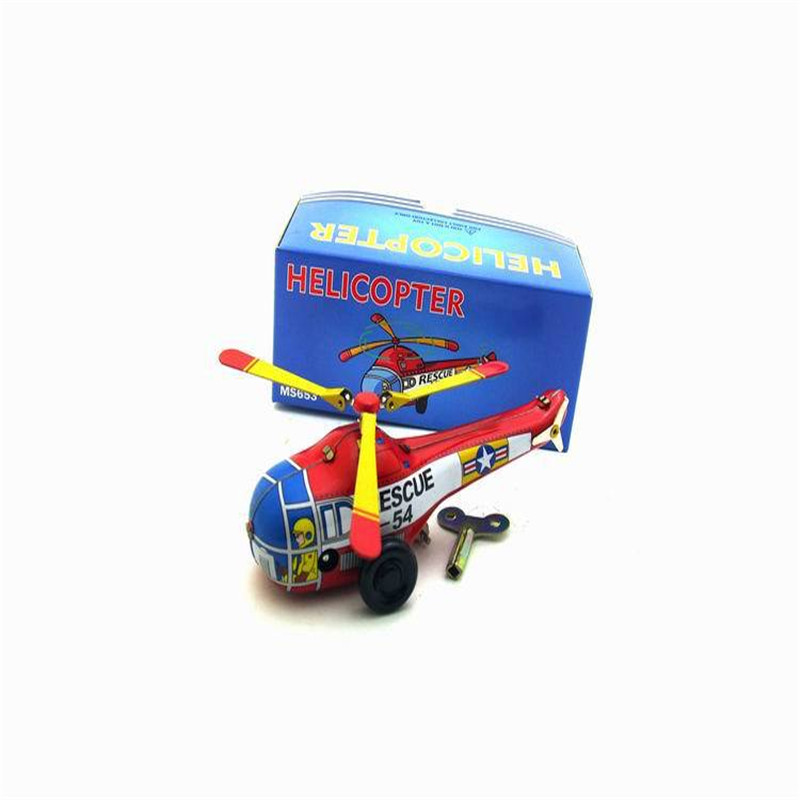 Classic Vintage Clockwork Little Helicopter Nostalgic Wind Up Children Kids Tin Toys With Key
