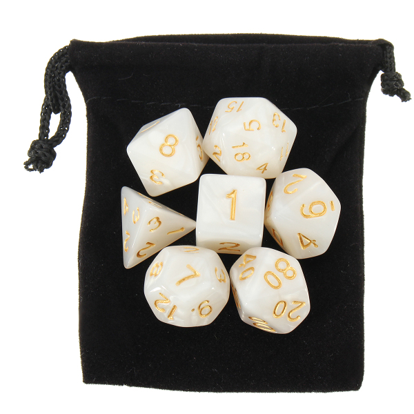 42pcs Multi-sided Polyhedral Digital Acrylic Dice Set 6 Colors w/Carry Bag