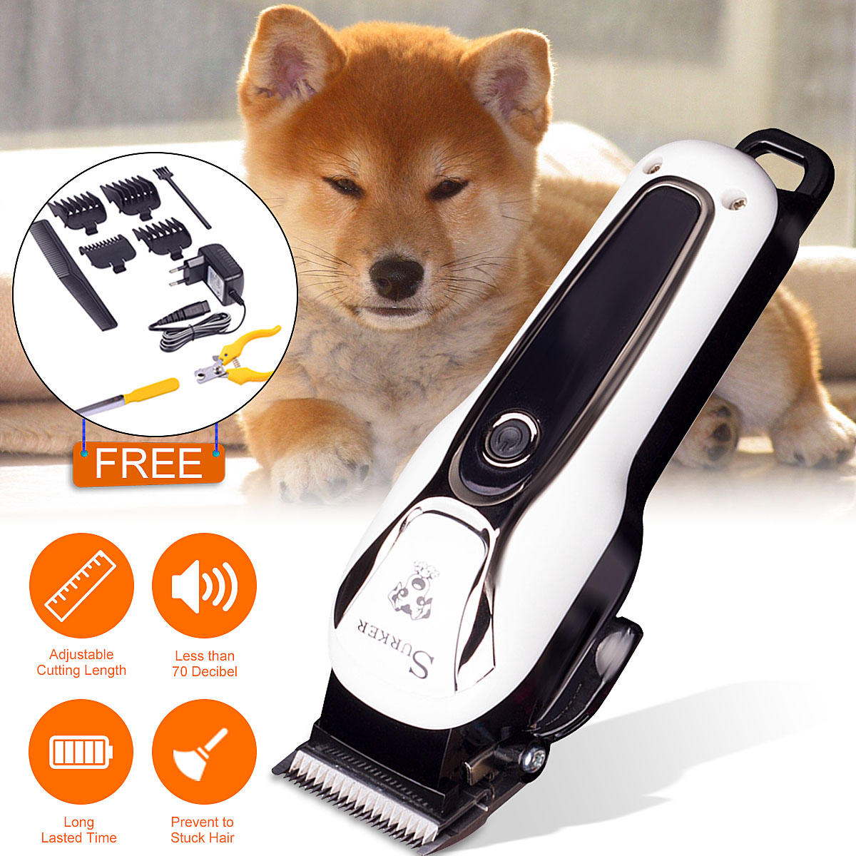 Pet Clipper Rechargeable Pet Cat Dog Electric Trimmer Hair Cutter Shaver Grooming Tool Kit