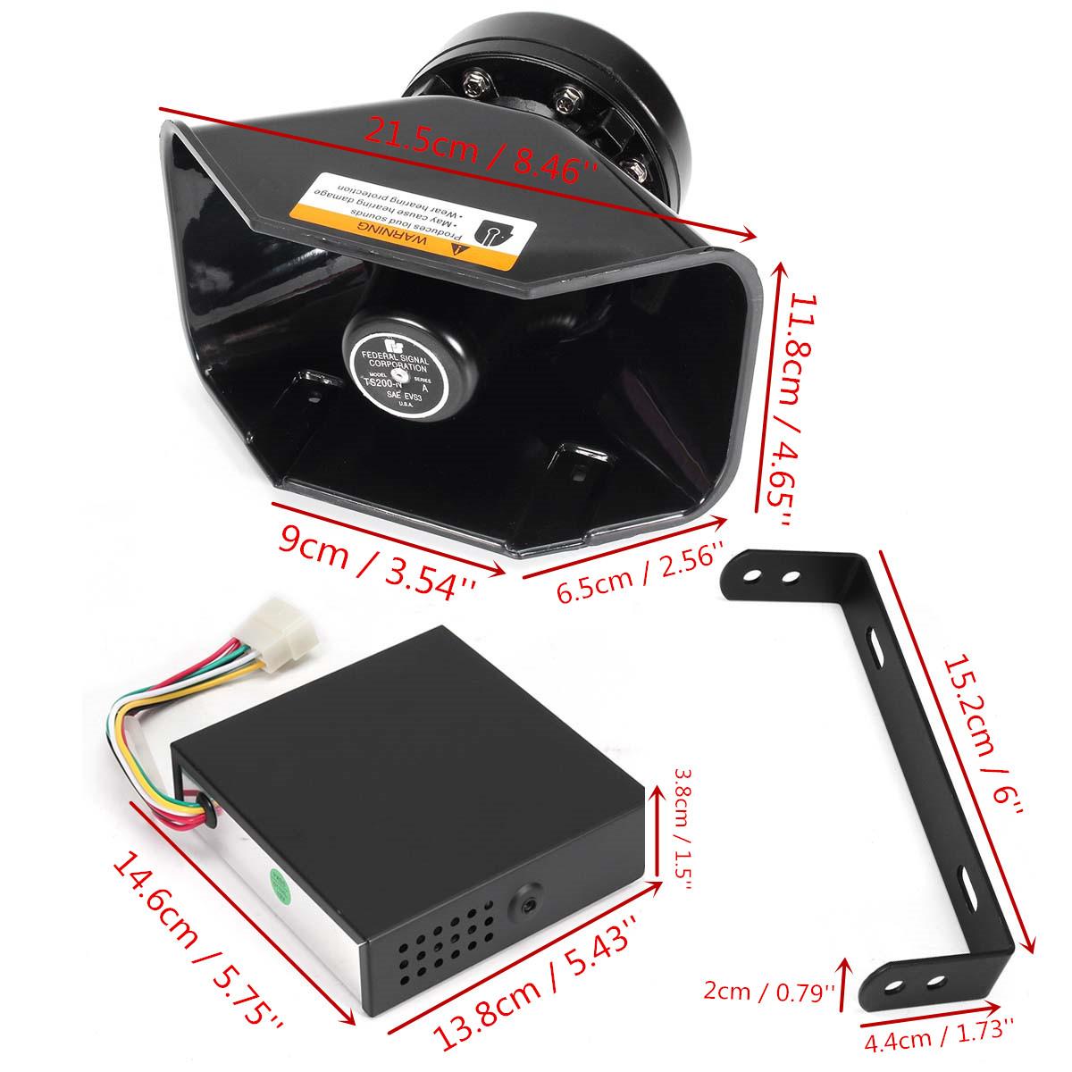 200W 7 Sound Loud Car Warning Alarm Police Fire Siren Horn PA Speaker MIC System