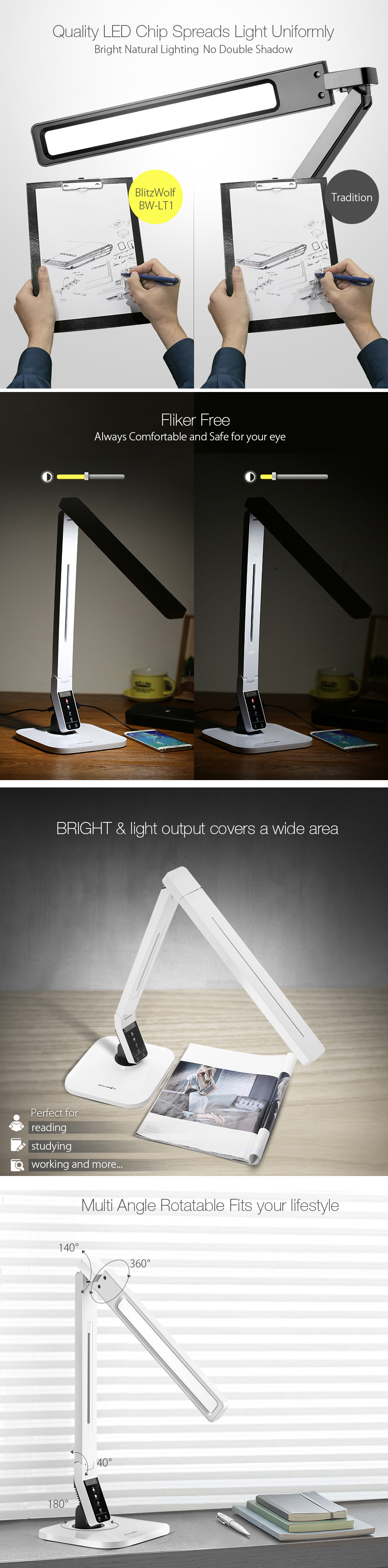 BlitzWolf® BW-LT1 Eye Protection Smart LED Desk Lamp Table Lamp Light Rotatable Dimmable 2.1A USB Charging