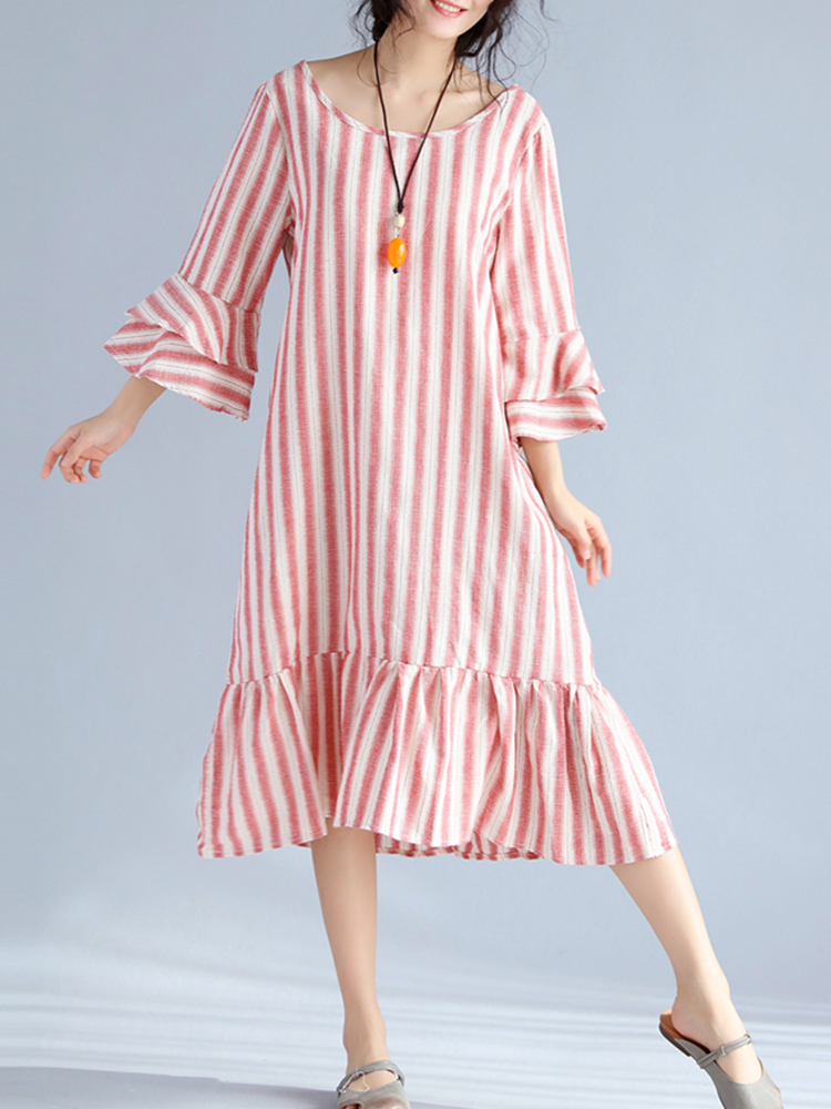 Women Stripe 3/4 Sleeve Vintage Spring Dresses
