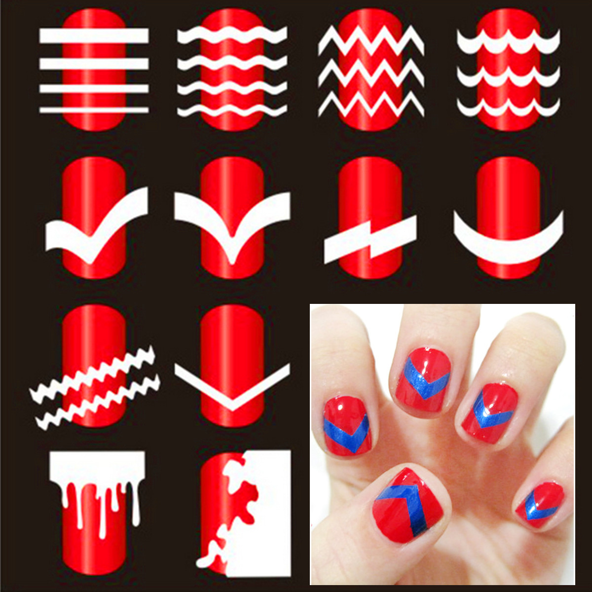 French Nail Art Tip Tape Guide Stencil Manicure Tool For Sticker Decal Decoration DIY