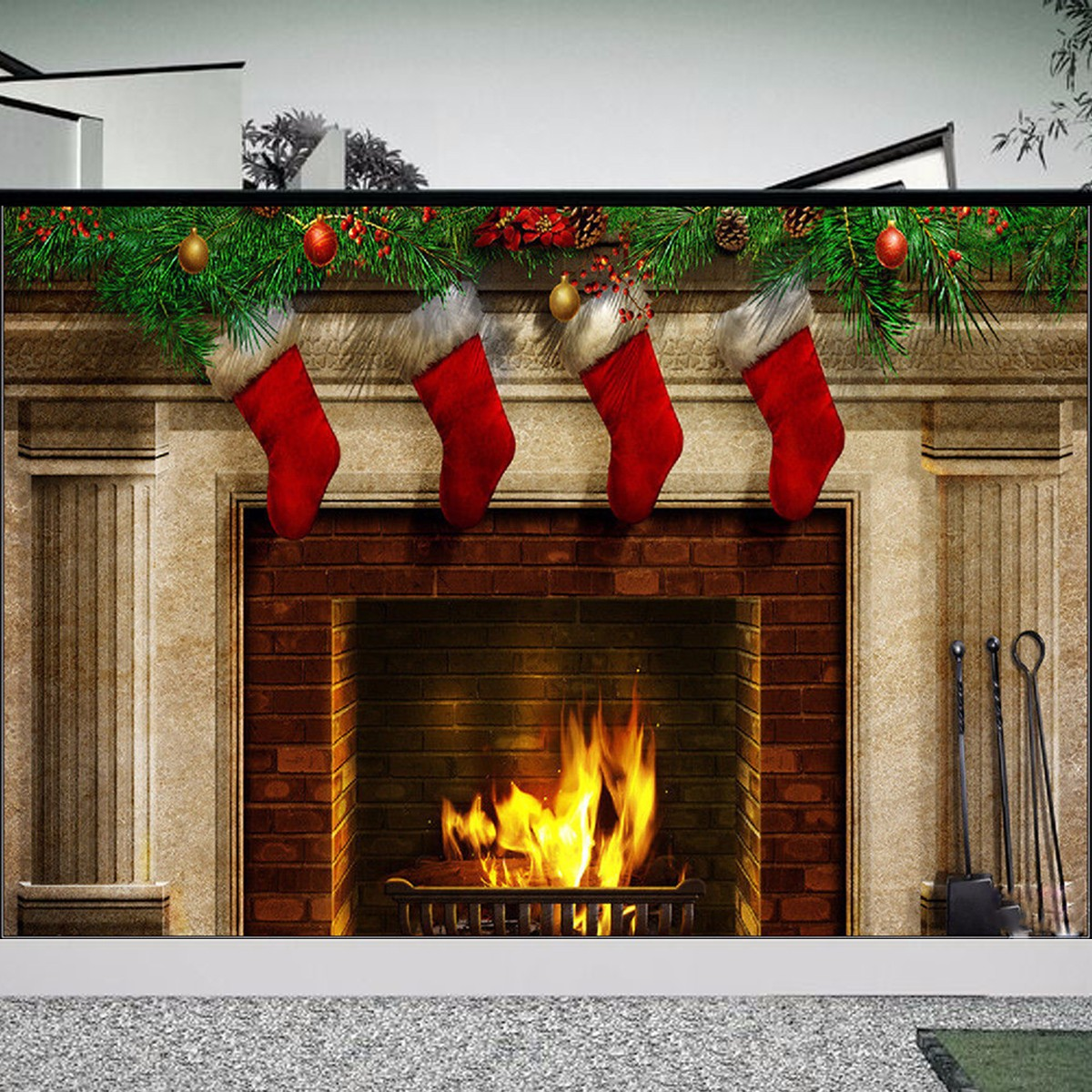 7x5FT Christmas Theme Fireplace Stockings Gift Photography Background