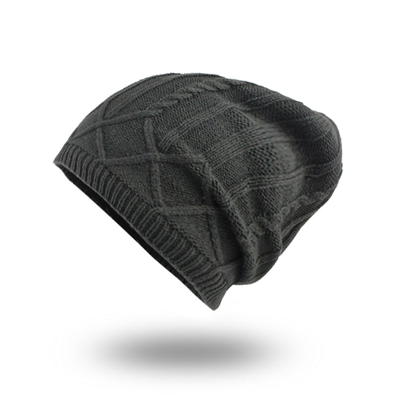 Mens Unisex Winter Plus Velvet Warm Slouchy Knit Beanie Hat