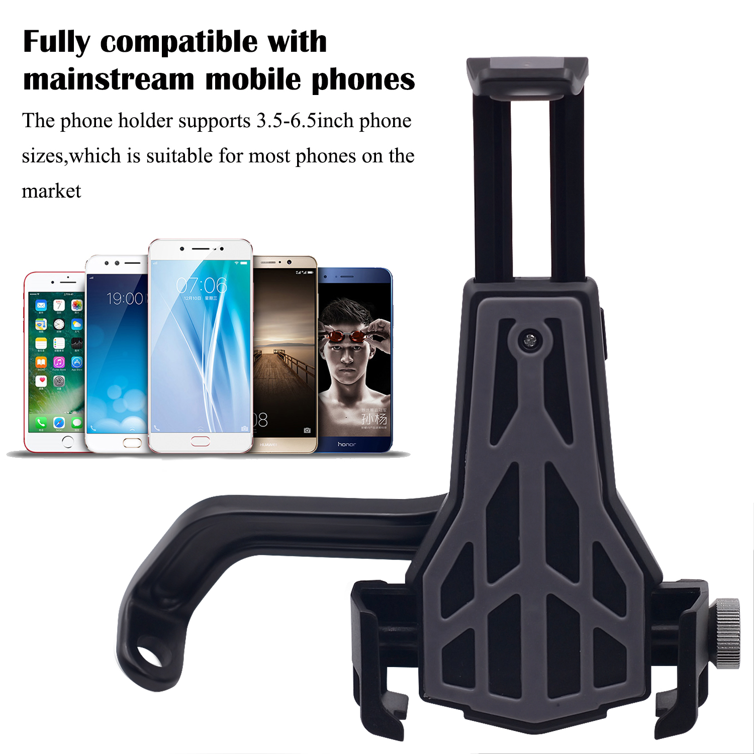 360 Degree Motorcycle Phone GPS Aluminum Alloy Holder Rear View Mirror