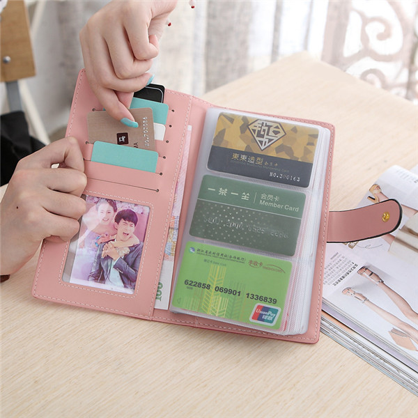 Women Candy Color Hasp Transparent 65 Card Holder Business Credit Card Case Long Wallet