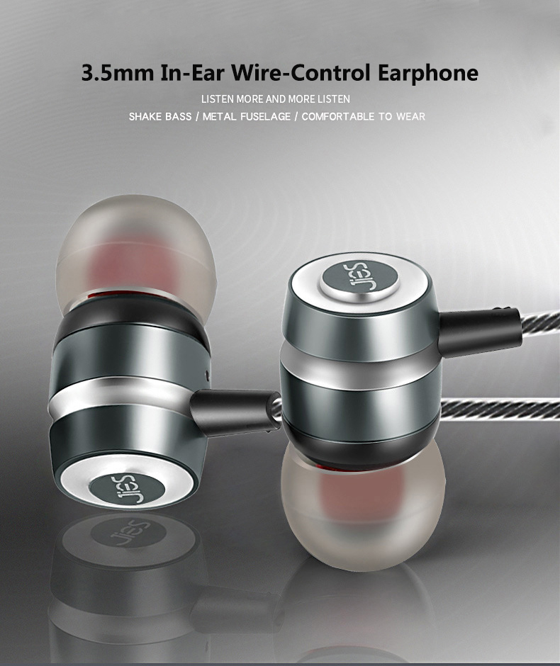 3.5mm Stereo Audio In-Ear Wire-Control Metal Earphone With Microphone Mic for Computer Game