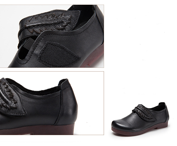 SOCOFY Genuine Leather Retro Loafers For Women