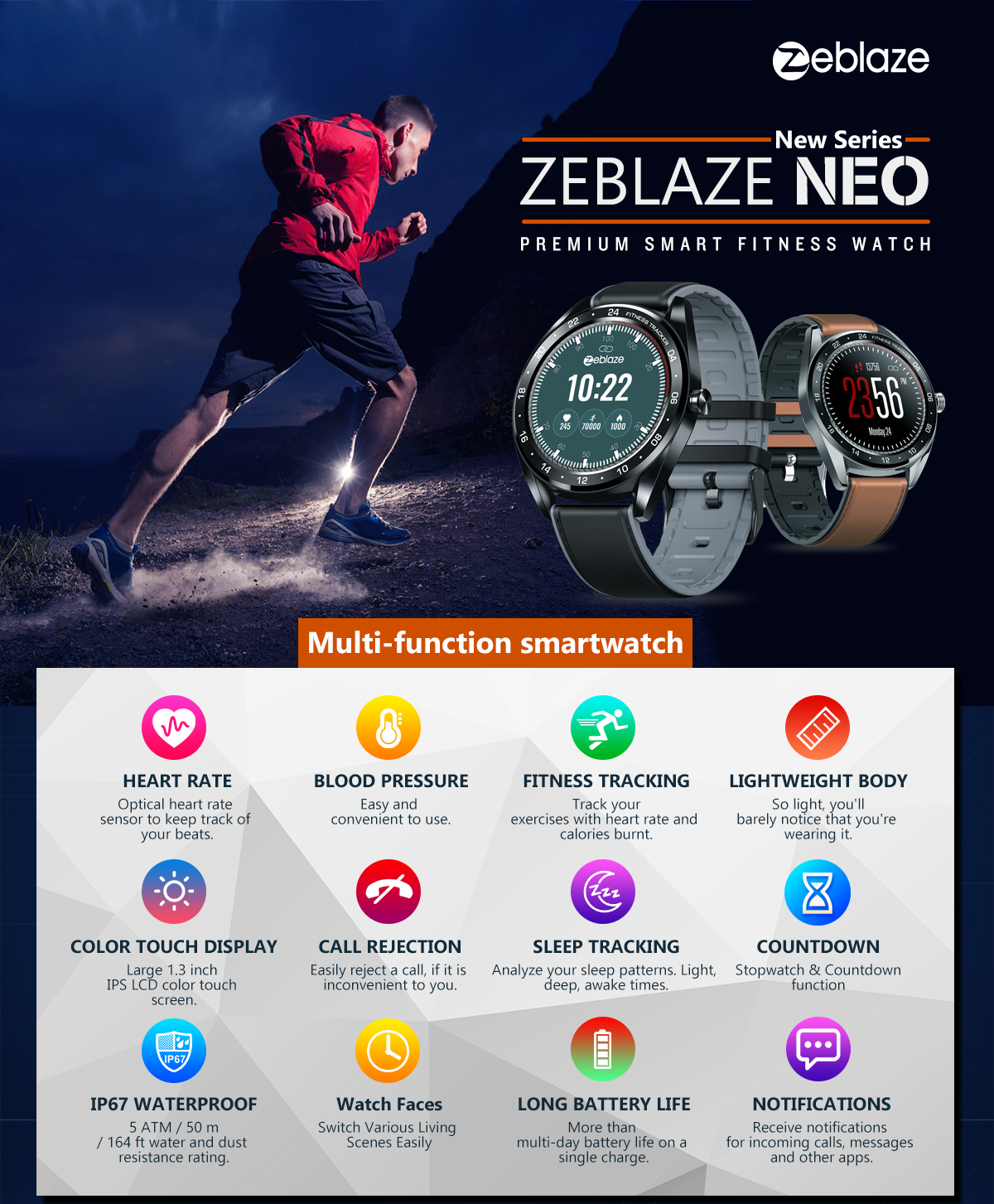 Zeblaze NEO 1.3inch Full-round Touch Screen Blood Pressure Heart Rate Monitor Female Physiological Check Countdown Stopwatch Silicone+Leather Band Smart Watch